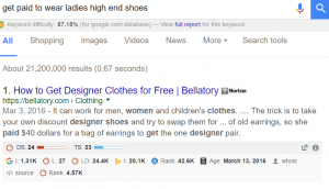 google search paid to wear...