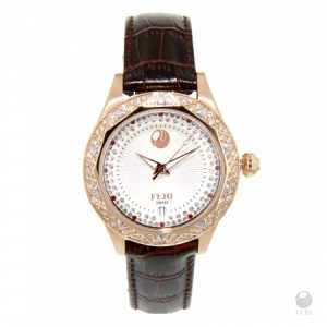 Shop FERI - Coeus Watch - Rose Tone with White Face and Red Printed Strap-1
