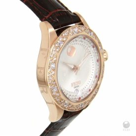 FERI-Coeus-Watch-Rose-Tone-with-White-Face-and-Red-Printed-Strap